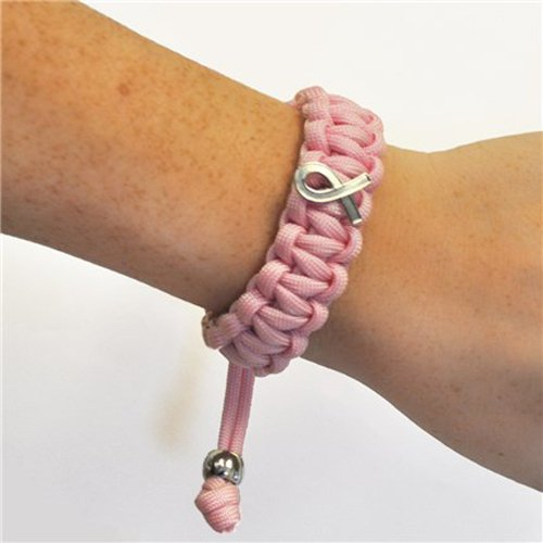 Lot of 6 as Shown Pink Breast Cancer Awareness Paracord Survival Bracelet
