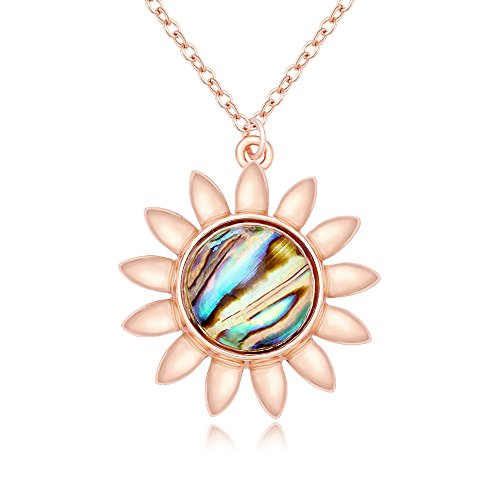 PANGRUI Fashion Sun Sunflower Pendant Natural Abalone Shell Charm Necklace for Women (rose gold)