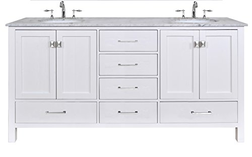 Virtu USA MD-2172-WMSQ-WH Caroline Parkway 72-Inch Bathroom Vanity with Double Square Sinks in White and Italian Carrera White Marble high-quality