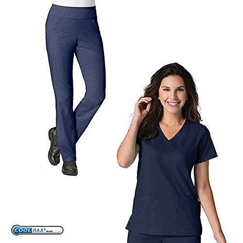 EON by Maevn Soft V-Neck Top & PURE Yoga 7-Pocket Pant Scrub Set (3X-Large Tall, True Navy) by EON