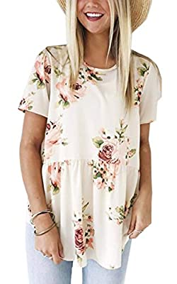 Angashion Women's Tops - Casual Floral Crew Neck Short Sleeve Flare Tunic T Shirt Blouses