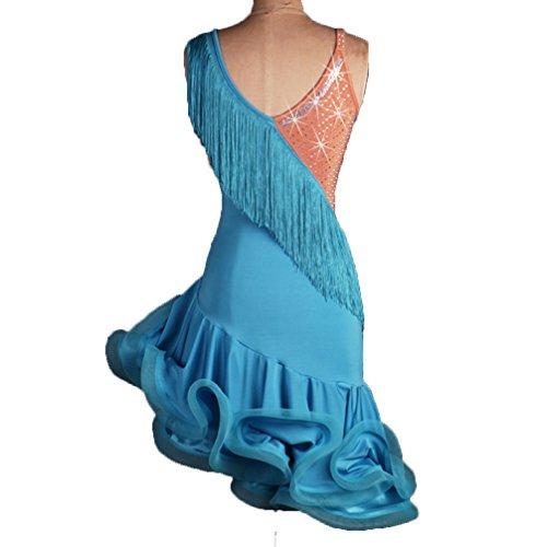 Lisca Prestazione Colori Di Latina Abiti Danza S Blue Donne Cuciture Competizione Da Latino Professionale m Pesce Gonna Costume Wqwlf A Abito Vestito Nappa Ballo Per CHp86p