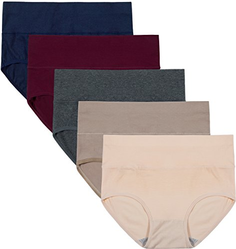 Innersy Women's 5 Pack High Waist Tummy Control Solid Color Cotton Briefs Panties(Love Yourself First) (L, Basics)