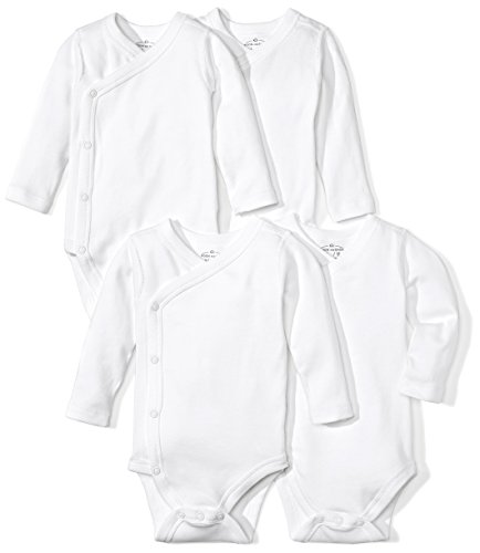 Moon and Back Baby Set Of 4 Organic Long-Sleeve Side-Snap Bodysuits, White Cloud, Preemie Kimono Cloth