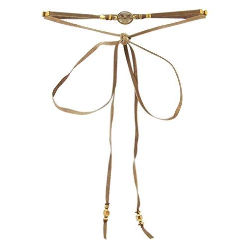 Chan Luu Self Tie Choker Necklace with Smokey Quartz and Bronze Leather