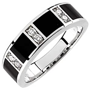 14Kt White Gold Charming Black Onyx and Diamond Men's Wedding Band