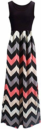 LIYOHON Women's Summer Chevron Striped Print Dress Tank Long Maxi Dresses for Women Black-B-XXL ()