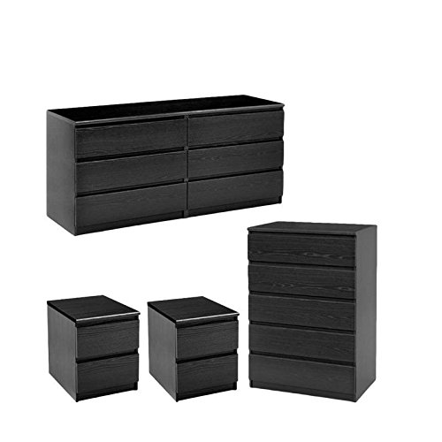 Home Square 4 Piece Bedroom Set 6 Drawer Dresser, 5 Drawer Chest & Two 2 Drawer Nightstands in Black Woodgrain