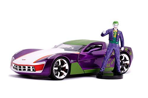 Jada Toys Hollywood Rides 2009 Chevrolet Corvette Stingray with Joker Diecast Figure DC Comics Series 1/24 Diecast Model Car