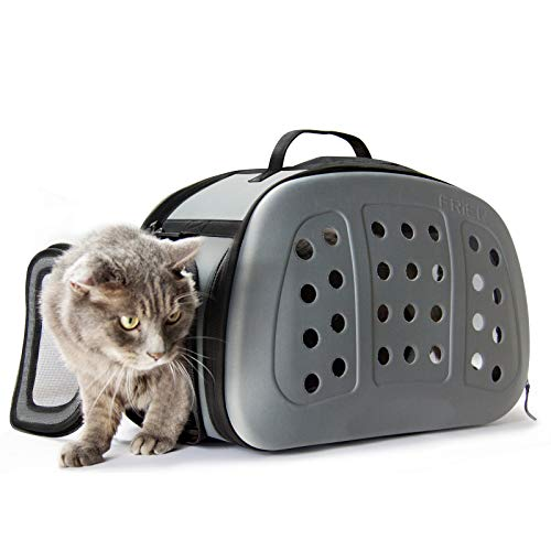 FRiEQ Foldable Hard Cover Pet Carrier with Shoulder Strap - Pet Travel Kennel Cats, Small Dogs & -