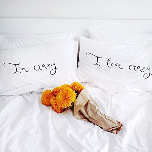 prz0vprz0 V Pack of 2 I Am Crazy I Love Crazy Couple Pillow Case 12 x 20 Inch Pillo wcases for Him Girlfriend ...