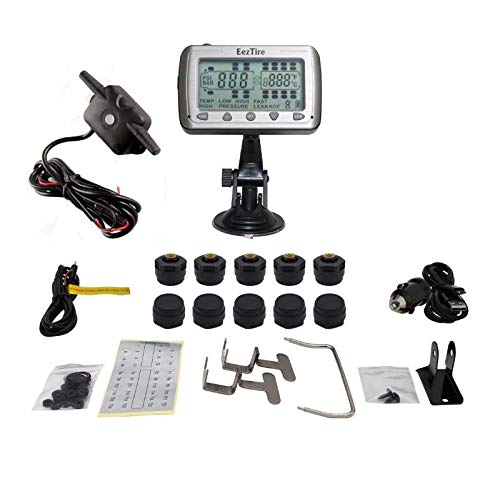 EEZTire-TPMS10B Real Time/24x7 Tire Pressure Monitoring System - 10 Anti-Theft Sensors + Booster,...