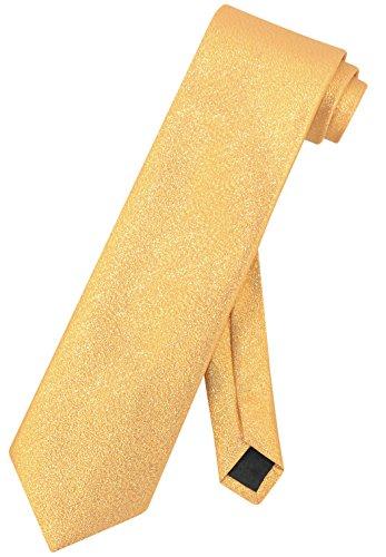 Vesuvio Napoli NeckTie Solid GOLD Yellow Metallic Color Design Men's Neck Tie