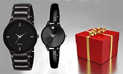 FENTIQ Black Couple Watch -Watch for Couple Black ANALOUGE