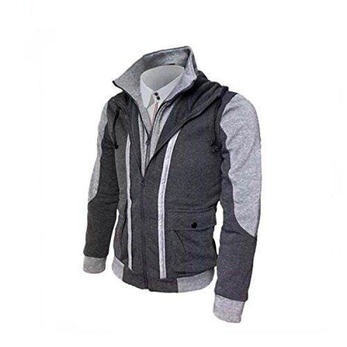 Men 's Double Zip Stitching Cardigan Fake Sweater,DarkGray-XL - Double Zip Cardigan