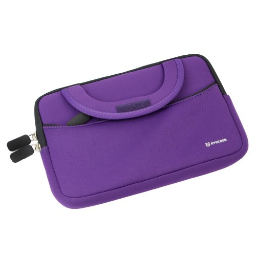 Evecase Neoprene Slim Briefcase w/ Handle & Accessory Pocket/ Ultra Portable Travel Carrying Pouch for Samsung Galaxy Tab E Lite 7.0 / Tab A 7.0 / Tab A 8.0 / Tab E 8.0 / Tab S2 - Purple by Evecase (Image #3)