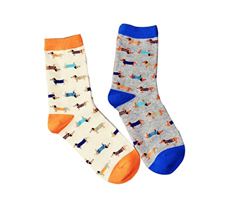Women Funny Dog Printed Socks, 2 Pairs