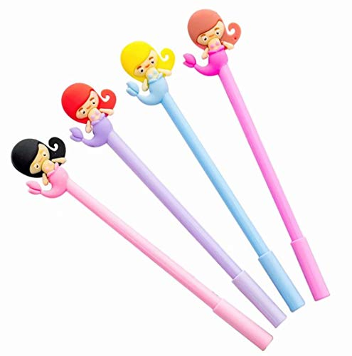- TMROW Novelty Cute Kawaii Mermaid Fish Girl Black Ballpoint Writing Pen Set Plastic Creative Gel Ink Pens for Office School Children Gift Stationery Supplies 4pcs/Set