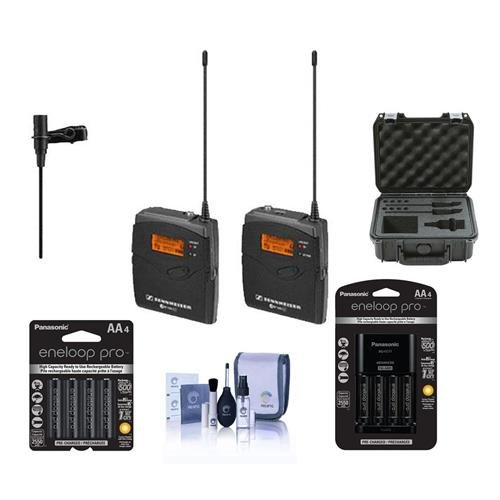 Sennheiser ew 112-p G3-A Wireless Microphone Kit with EK 100 G3 Diversity Receiver Band A - Bundle with Panasonic Charger, 4x AA Batteries, 4x Eneloop AA NiMH Batteries, Cleaning Kit, SKB Mic Case (Sennheiser Microphone Directional Omni)