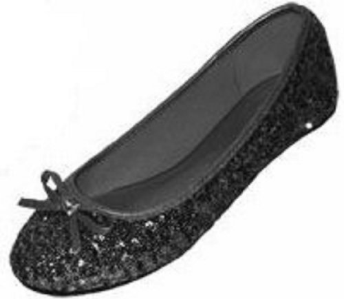 (New Womens Sequins Ballerina Ballet Flats Shoes 4 Colors Available (7/8, Black Sequins 2001))