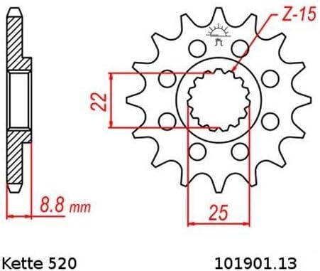 Kettensatz geeignet f/ür Husaberg TE 125 Cross 12-13 Kette RK FB 520 H 118 offen BLAU 13//50