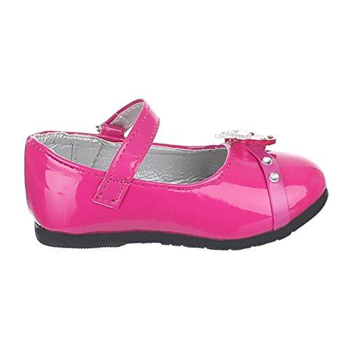 Kinder Schuhe, 283-6, BALLERINAS MIT DEKO VERZIERTE Pink