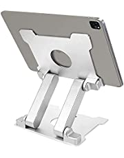 KABCON Quality Tablet Stand,Adjustable Foldable Eye-Level Aluminum Solid Up to 13.5-in Tablets Holder for Microsoft Surface Series Tablets,iPad Series,Samsung Galaxy Tabs,Amazon Kindle Fire,Etc.Silver