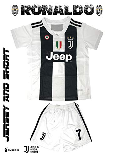 GolPro Juventus Soccer Jersey for Kids - Juventus Ronaldo No.7 - Replica Jersey Kit: Shirt + Short Includes All Patches. (Black & White, 28 Kids (Age - Replica Uniforms Soccer