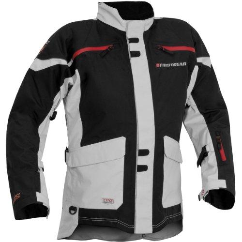 FirstGear TPG Rainier Men's Waterproof On-Road Motorcycle Jacket - Black/Silver - Tall -