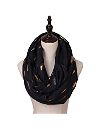 Missshorthair Women's Bright LightWeight Foil Gold Silver Pattern Soft Infinity Scarf