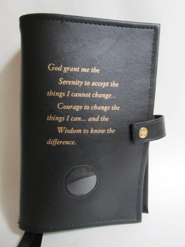 Double Narcotics Anonymous NA Basic Text & It Works, How & Why Book Cover Serenity Prayer Medallion Holder Black