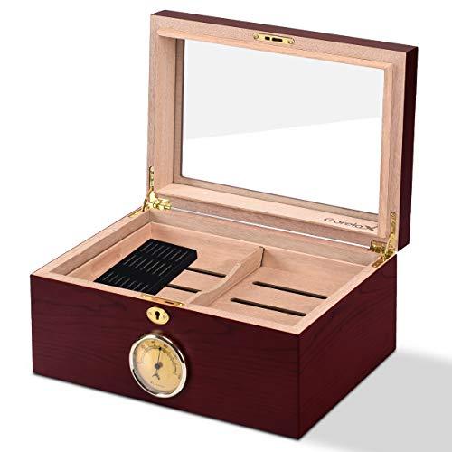 $65.99 daniel marshall humidor Giantex Desktop Cigar Humidor Tempered Glasstop Lockable w/Humidifier Hygrometer (75-100 Cigar) 2019