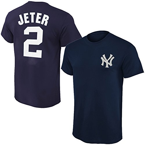Outerstuff MLB Youth Performance Team Color Player Name and Number Jersey T-Shirt (Medium 10/12, Derek Jeter)