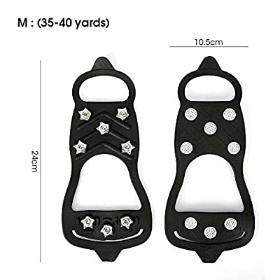 Embeau Traction Cleats Ice Snow Grips | Crampons Non-Slip Ice & Snow Grips Cleat Over Shoe/Boot Traction Cleat Rubber Spikes, for Walking and Hiking?M Size?