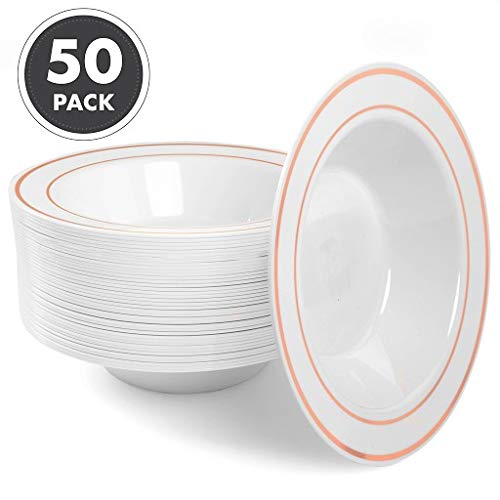 12oz Plastic Bowls Set of 50 - White Rose Gold Rim 12 oz Disposable Bowl ()