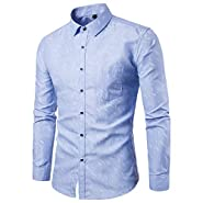 NUWFOR Men's New Pattern Casual Fashion Lapel Printing Long Sleeved Shirt White
