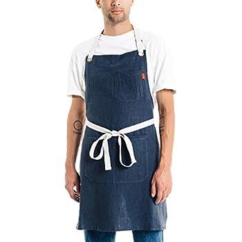 Caldo Linen Kitchen Apron - Mens and Womens Linen Bib Apron - Adjustable with Pockets (Navy)