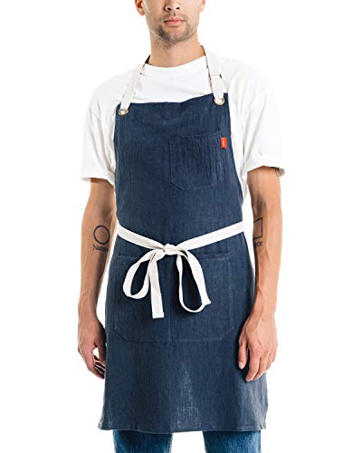 Caldo Linen Kitchen Apron - Mens and Womens Linen Bib Apron - Adjustable with Pockets (Navy)