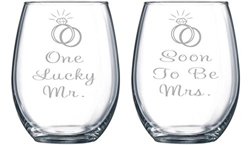 One Lucky Mr. and Soon To Be Mrs. Etched 15 oz. Stemless Wine Glasses Set