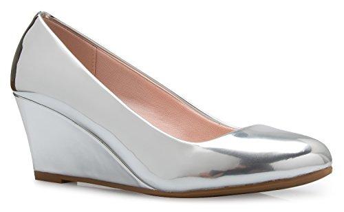 OLIVIA K Women's Adorable Low Wedge Heel Shoe - Easy Low Pumps - Basic Slip On, Comfort by OLIVIA K
