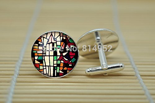 - Pretty Lee Vintage Church Stained Glass Jewelry Cufflinks Abstract Cufflinks In Silver Glass Cabochon Cuff Links C0722