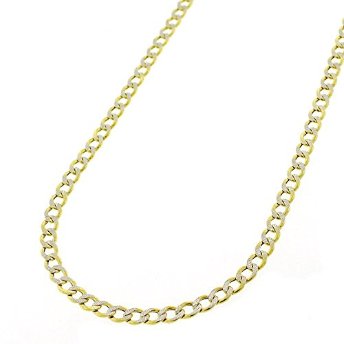 14k Two Tone Charms - 14k Yellow Gold 3.5mm Hollow Cuban Curb Link Diamond Cut Two-Tone Pave Necklace Chain 16