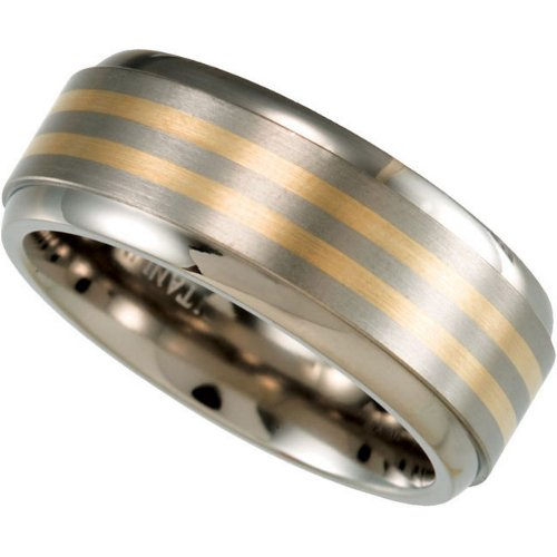 8 mm Comfort Fit Titanium and 14k Yellow Gold Inlay Band Size 12.5 by The Men's Jewelry Store