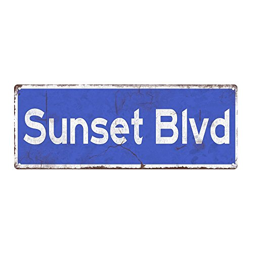 "Sun Protected Blue Sunset Blvd. Metal Sign, Sun Protected 6""x16"
