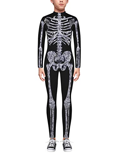 Easy Hallowen Costumes (TENMET Boys Girls Skeleton Costume Hallowen Cospaly Bodysuit for)