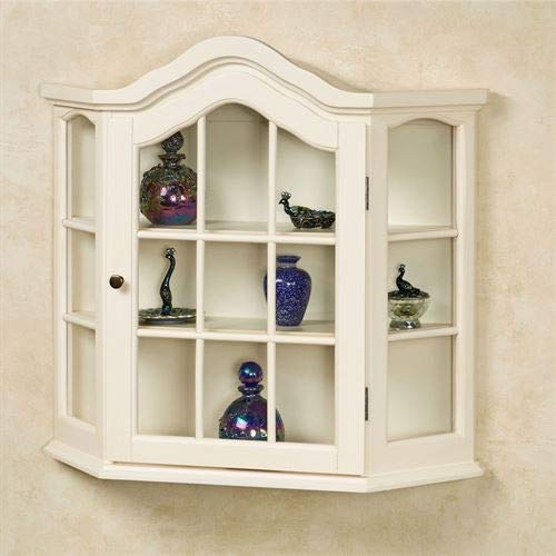 Amelia Wooden Wall Curio Cabinet Whitewash One Size by Touch of Class