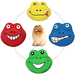 PAWABOO Dog Latex Squeak Toys, Funny Animal Lovely Frog Prince Sets Assorted Color Squeaky Puppy Toy, Soft Rubber Chewing Toy Interactive Fetch Play Dog Bounces Toy with Sound Squeaker, 4 Pack