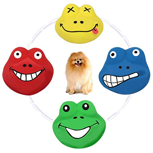 PAWABOO Dog Latex Squeak Toys, Funny Animal Lovely Frog Prince Sets Assorted Color Squeaky Puppy Toy, Soft Rubber Chewing Toy Interactive Fetch Play Dog Bounces Toy with Sound Squeaker, 4 Pack ()