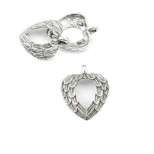 20 Pieces Jewelry Making Charms Retro Silver Tone for Necklace Pendant Bracelet Findings Vintage Bijoux Breloques Bulk 30345 Heart Angel Wings