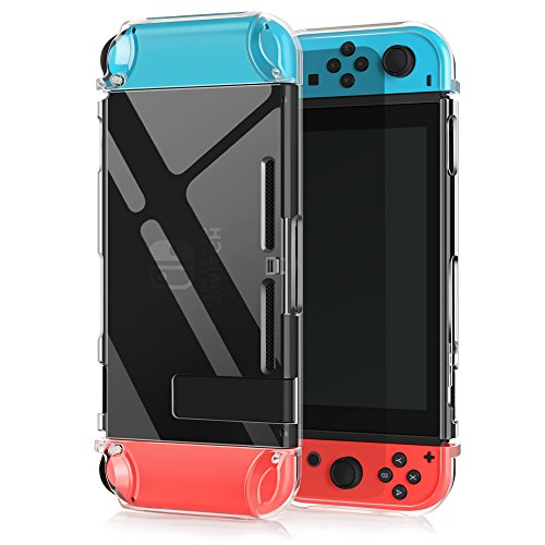 Transparent Game Controller (Switch Case for Nintendo, Findway Nintendo Switch Accessories Cover Case - TPU Crystal Clear Transparent Shock Absorption Technology Bumper Soft Protective -Nintendo Switch Console Case)